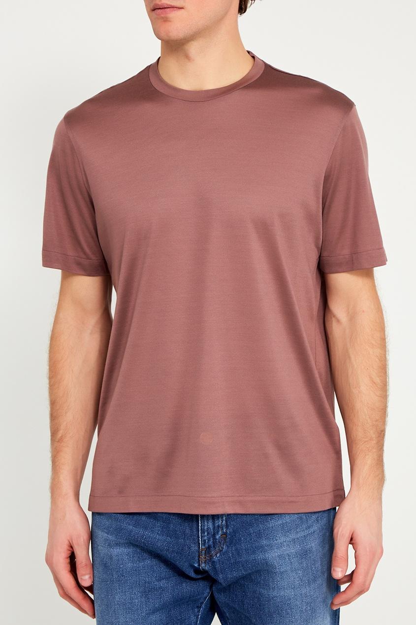 BRIONI Шелковая футболка розового цвета brioni спортивный костюм от brioni 72536