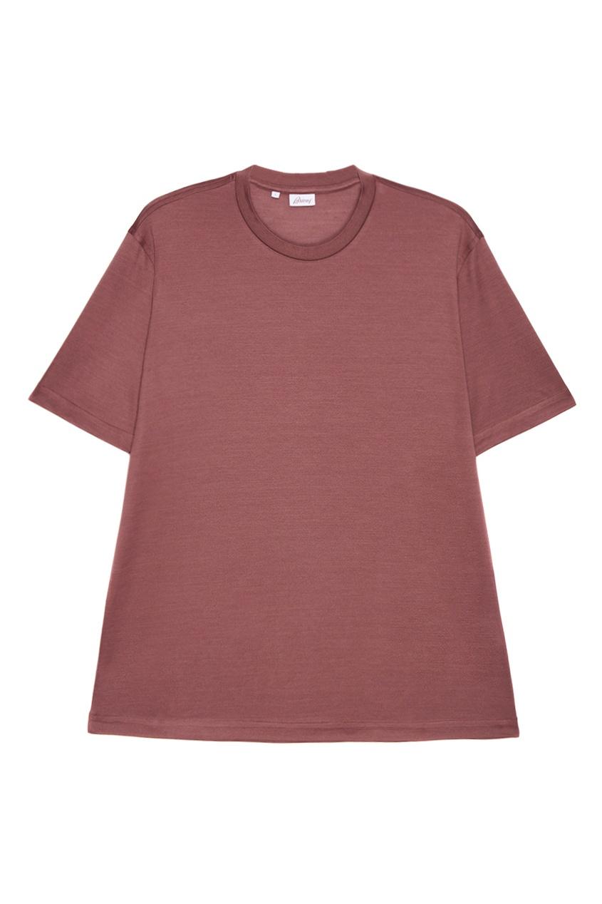 BRIONI Шелковая футболка розового цвета brioni шерстяные брюки серые