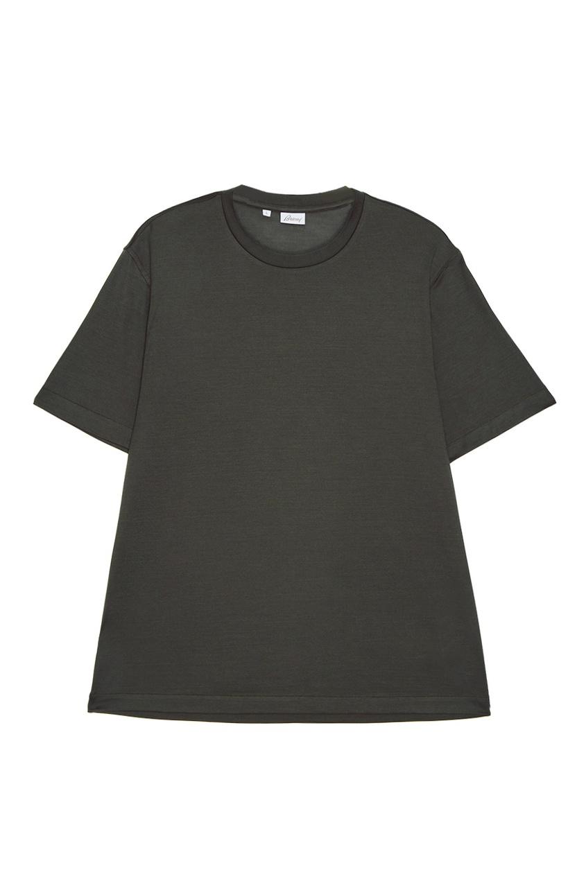 BRIONI Шелковая футболка зеленого цвета brioni шерстяные брюки серые