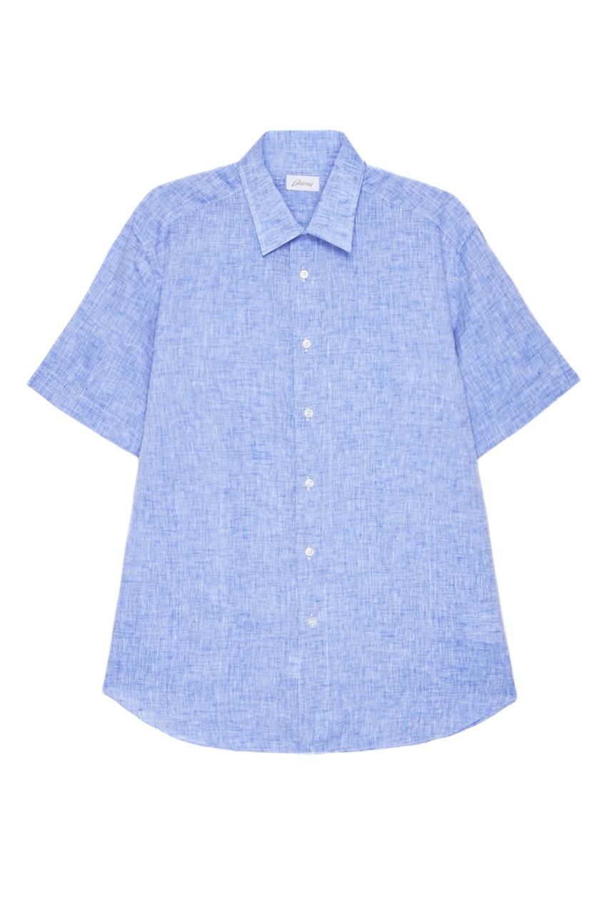 BRIONI Голубая льняная рубашка brioni шерстяные брюки серые