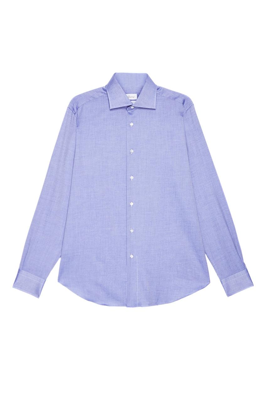 BRIONI Голубая сорочка из хлопка brioni шерстяные брюки серые