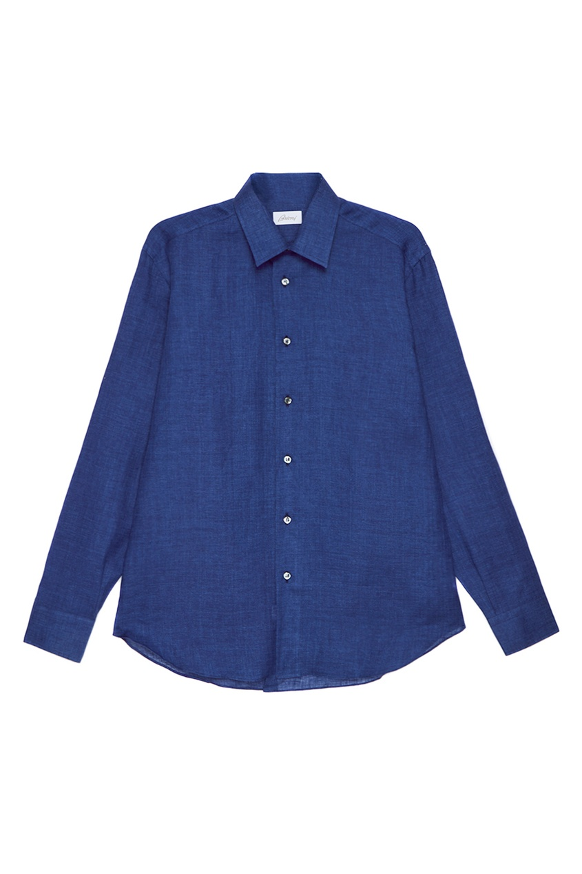 BRIONI Синяя льняная сорочка brioni шерстяные брюки серые
