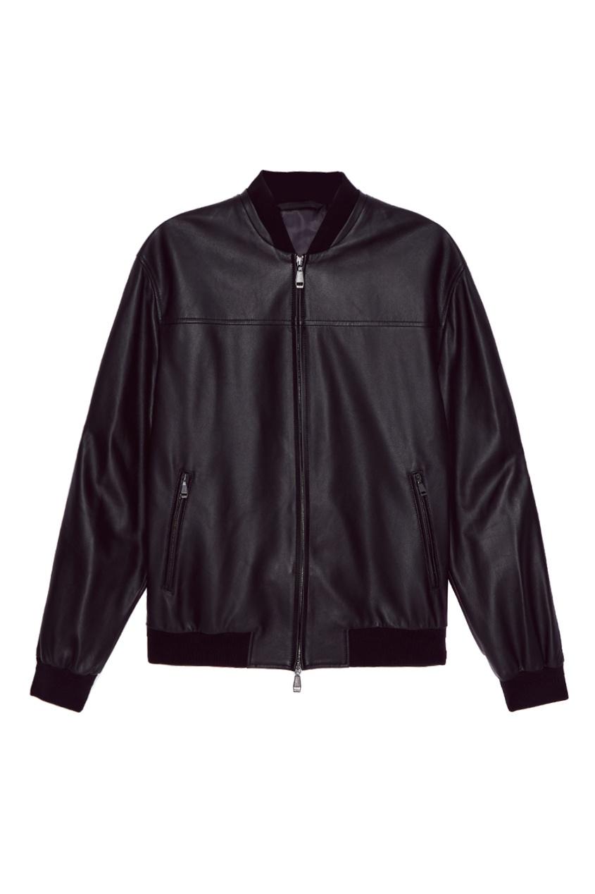 BRIONI Черный кожаный бомбер brioni шерстяные брюки серые