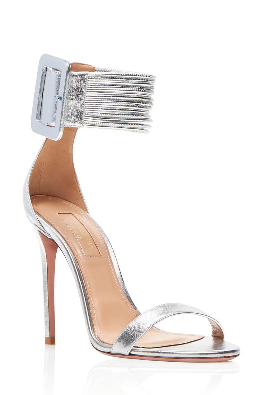 Серебристые босоножки с пряжкой Casablanca Sandal 105