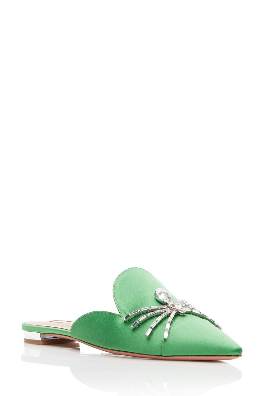 Aquazzura Зеленые сатиновые слиперы Crystal Spider Flat слиперы мужские в спб