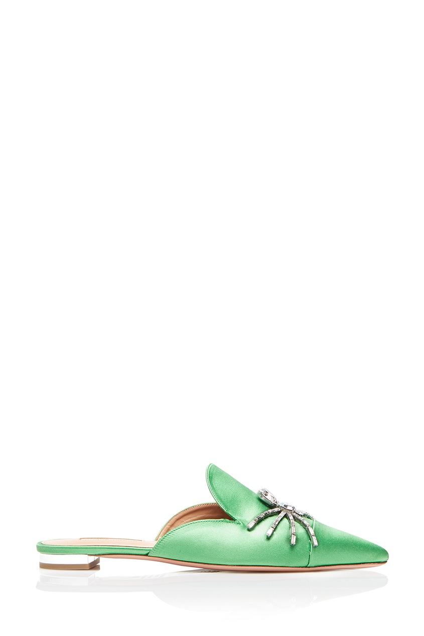 Aquazzura Зеленые сатиновые слиперы Crystal Spider Flat