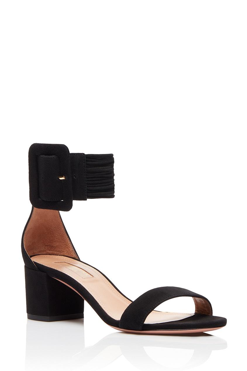 Aquazzura Черные замшевые босоножки с пряжкой Casablanca Sandal 50