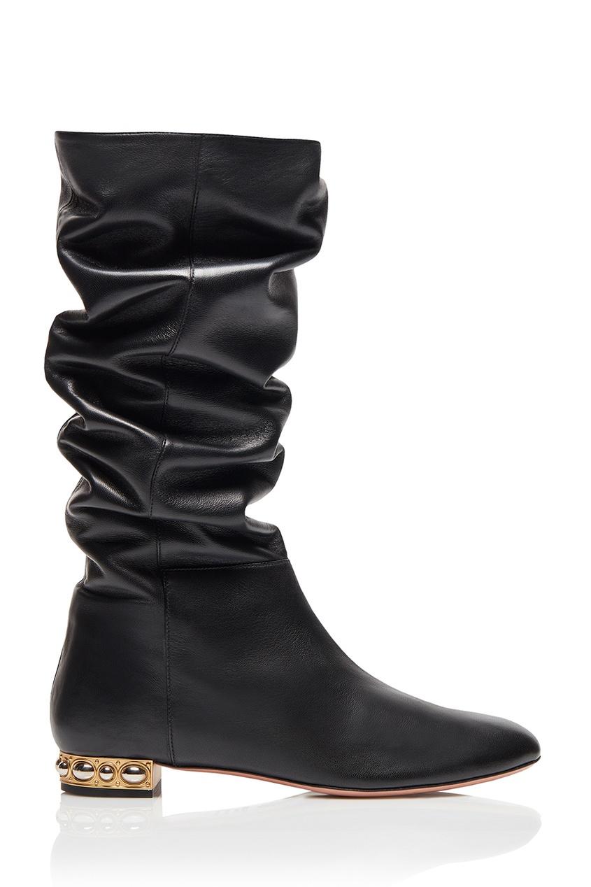 Aquazzura Черные кожаные сапоги Wyatt Boot Flat brian atwood кожаные сапоги ares