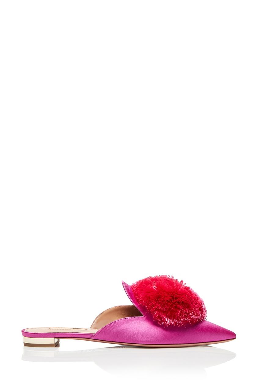 Aquazzura Розовые слиперы с помпоном Powder Puff Flat aquazzura серебристые босоножки из кожи josephine plateau 130