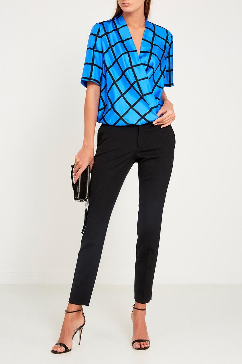 Diane von Furstenberg Синяя блузка из шелка diane von furstenberg шелковая блузка gilmore habotai