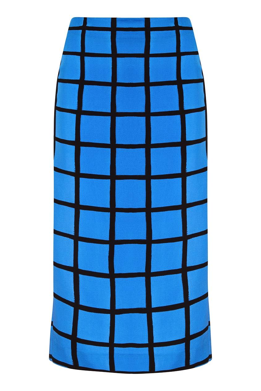 Шелковая юбка в клетку