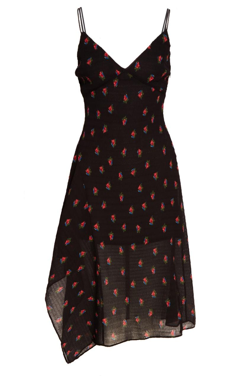 MO&Co Черное платье с розами платье черное с паетками 44