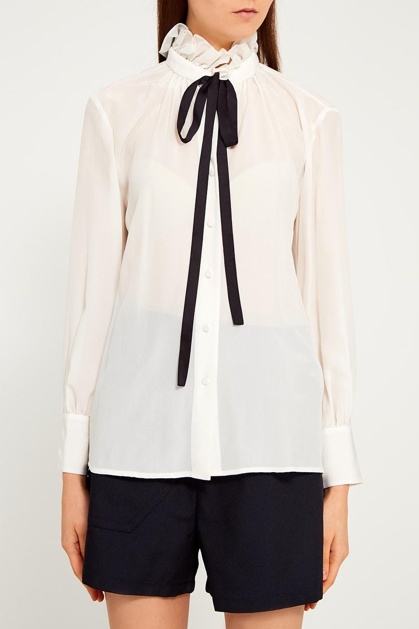MO&Co Шелковая блузка с завязками