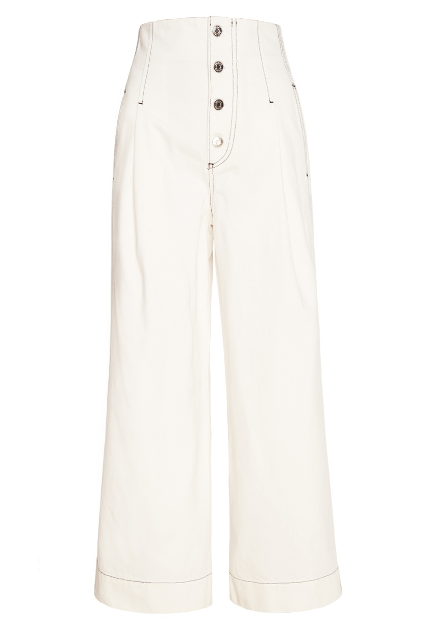 MO&Co Белые широкие брюки брюки широкие из хлопка stretch phil