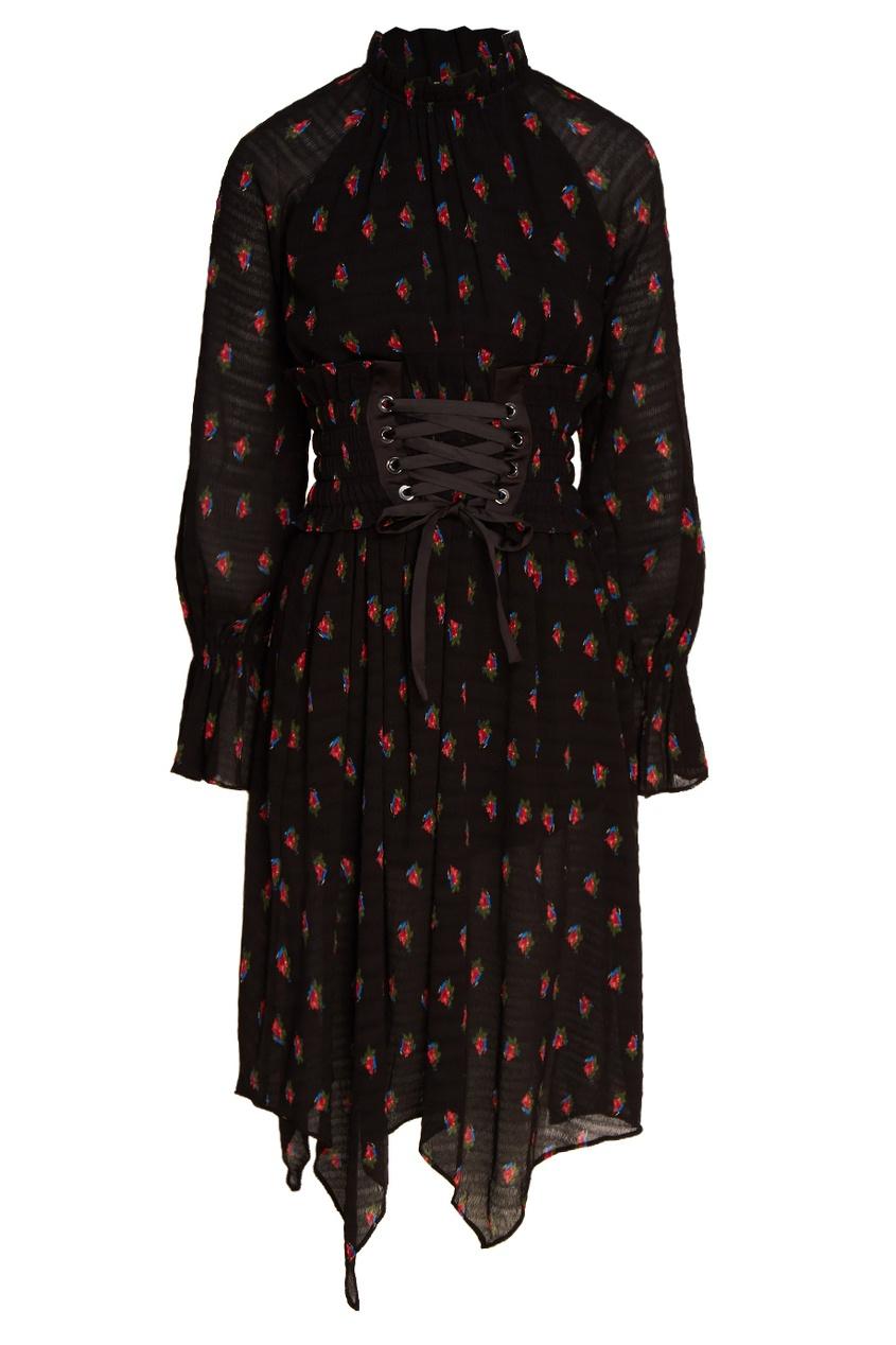 MO&Co Черное платье с принтом платье черное с паетками 44