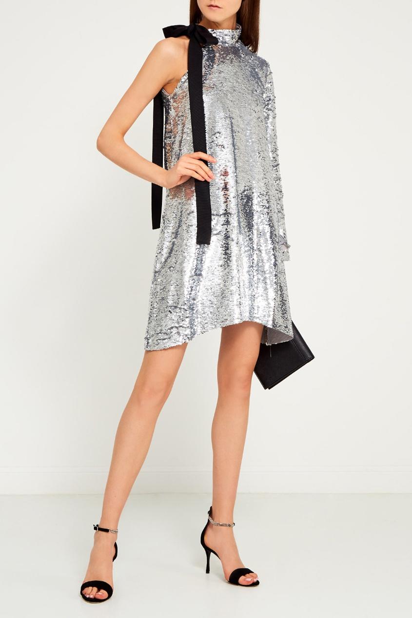 MO&Co Асимметричное платье с пайетками vionnet асимметричное платье свободного кроя