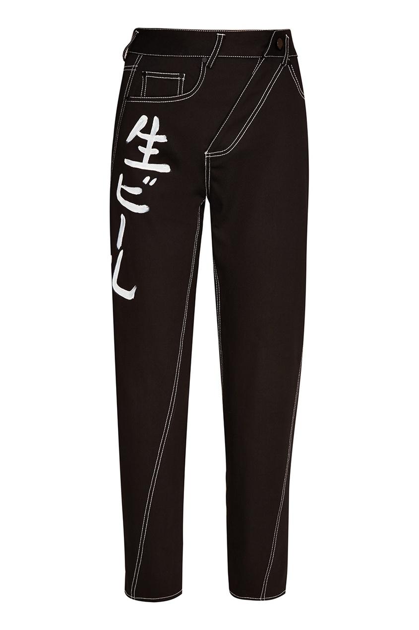 Yuzhe Studios Черные джинсы с иероглифами джинсы acne studios джинсы бойфренды