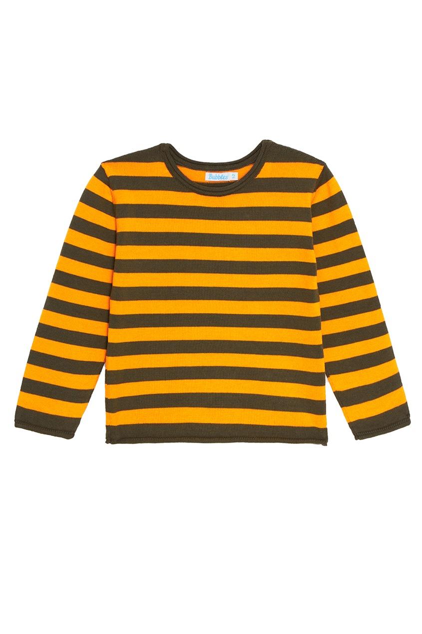 Оранжевый хлопковый джемпер в полоску