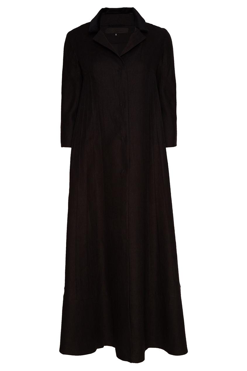 Tegin Черное платье-пальто tegin льняной топ