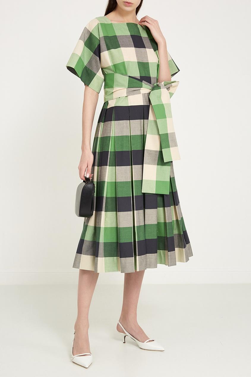 Зеленое платье в клетку