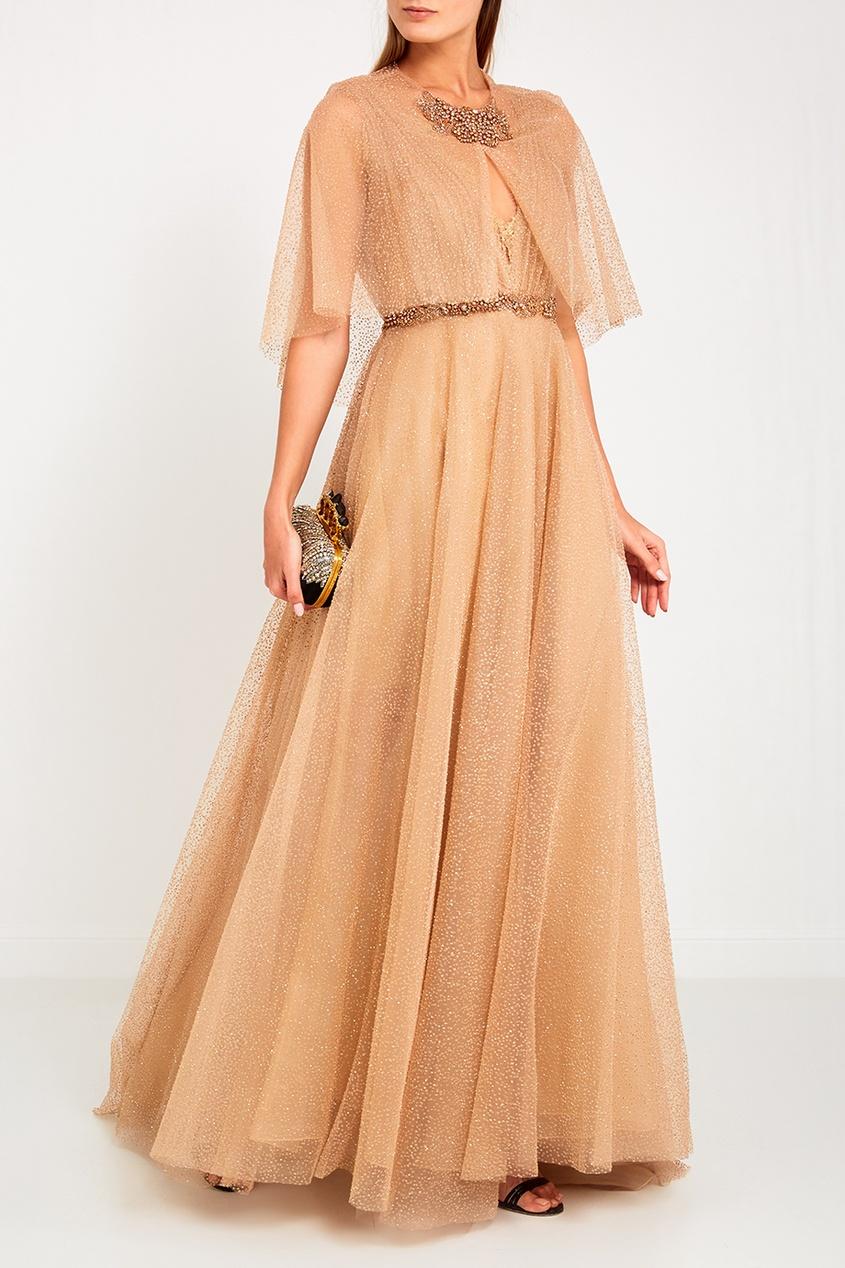 Marchesa Бежевое платье с блестками вечернее платье от юдашкина