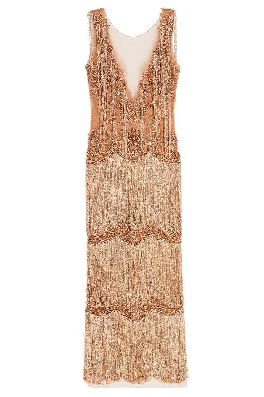 Золотистое платье с бахромой