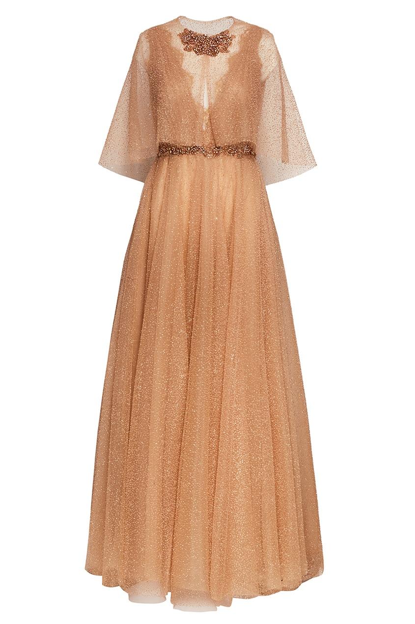 Marchesa Бежевое платье с блестками объемная вышивка с бисером