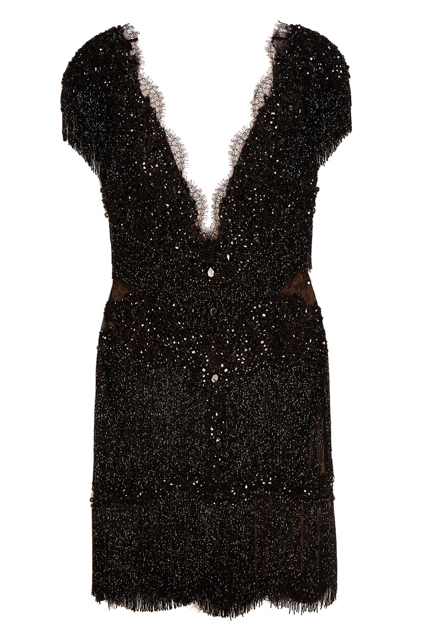 Marchesa Черное платье с бахромой платье черное с паетками 44