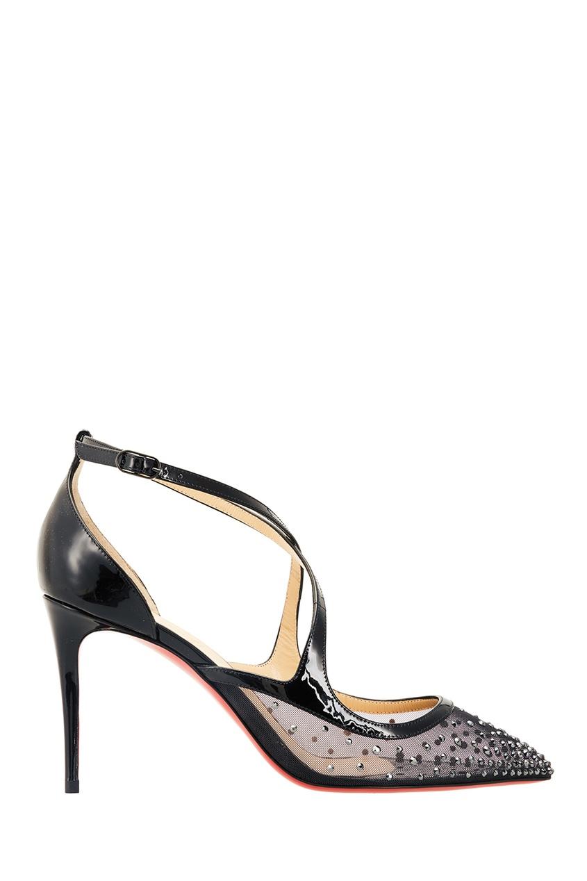 Черные туфли с кристаллами Twistissima Strass 85 Christian Louboutin