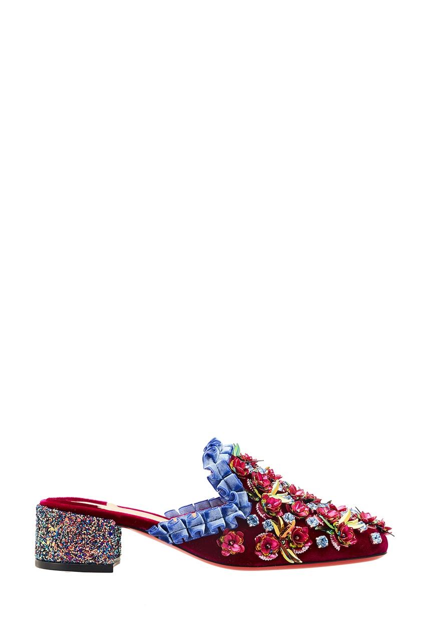 Бархатные мюли с цветами Babouchkaflor 35