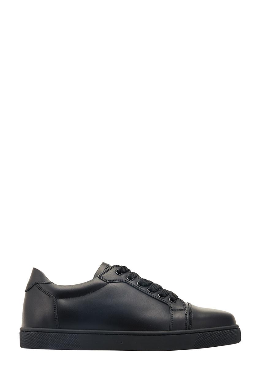 Christian Louboutin Черные кожаные кеды Vieira Flat