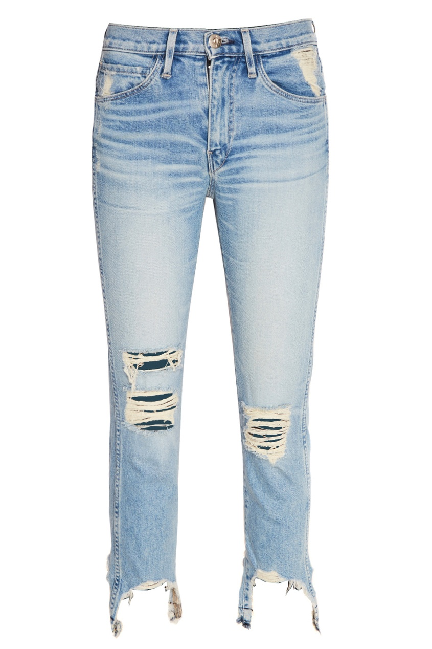 3х1 Голубые джинсы с потертостями full circle джинсы с потертостями