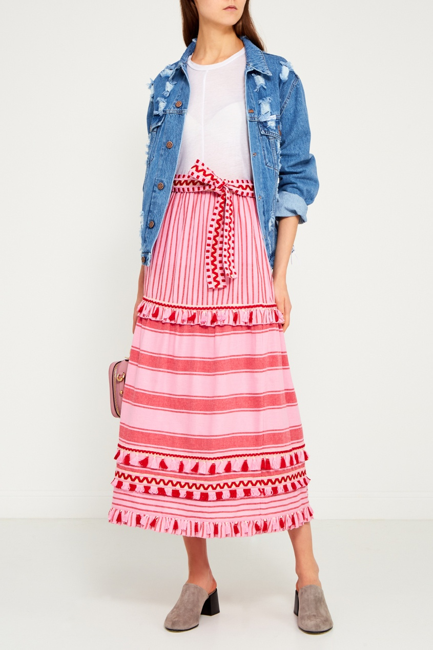 Dodo Bar Or Хлопковая юбка с кисточками Gael юбка миди в полоску розового цвета