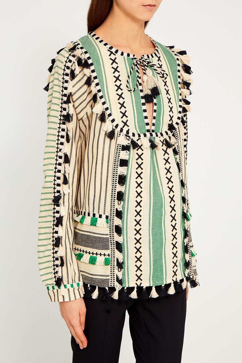 Dodo Bar Or Зеленая блузка с кисточками Aria блузка с вышивкой в этническом стиле
