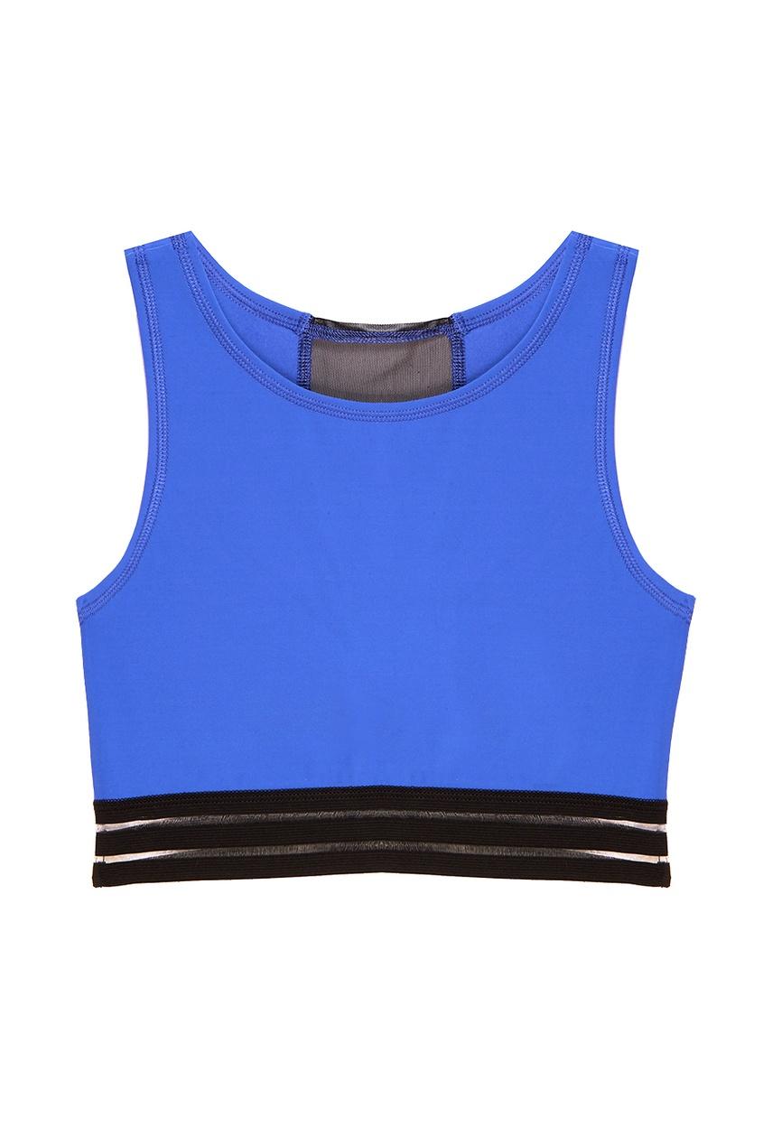 Синий топ с сеткой на спине