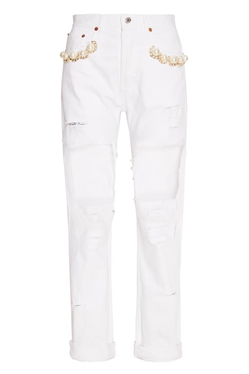 Forte Couture Белые декорированные джинсы