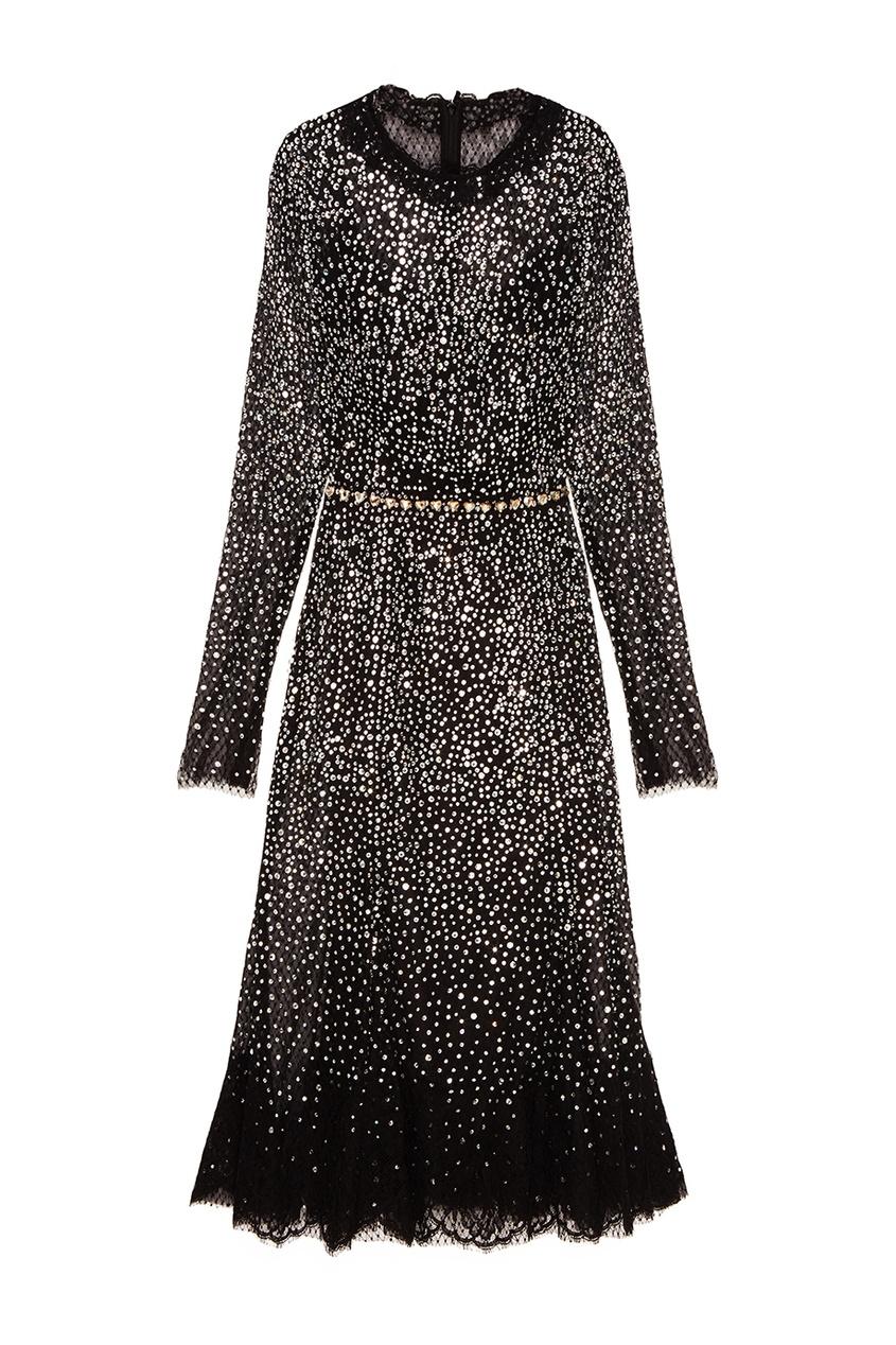 Dolce&Gabbana Черное платье с кристаллами платье черное с паетками 44