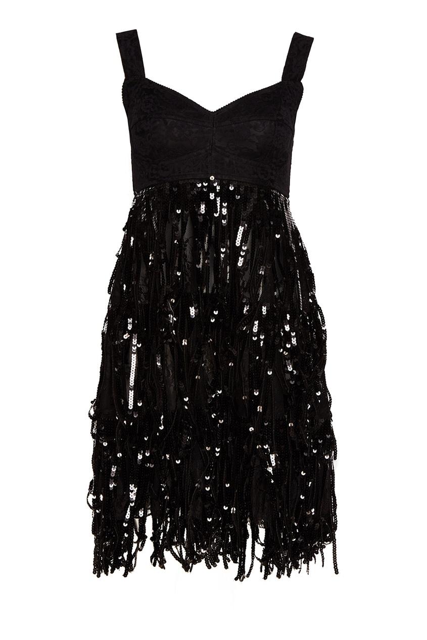 Dolce&Gabbana Платье с бахромой из пайеток кружевное платье на бретелях dolce
