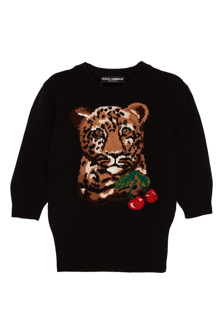 Шерстяной джемпер с леопардом