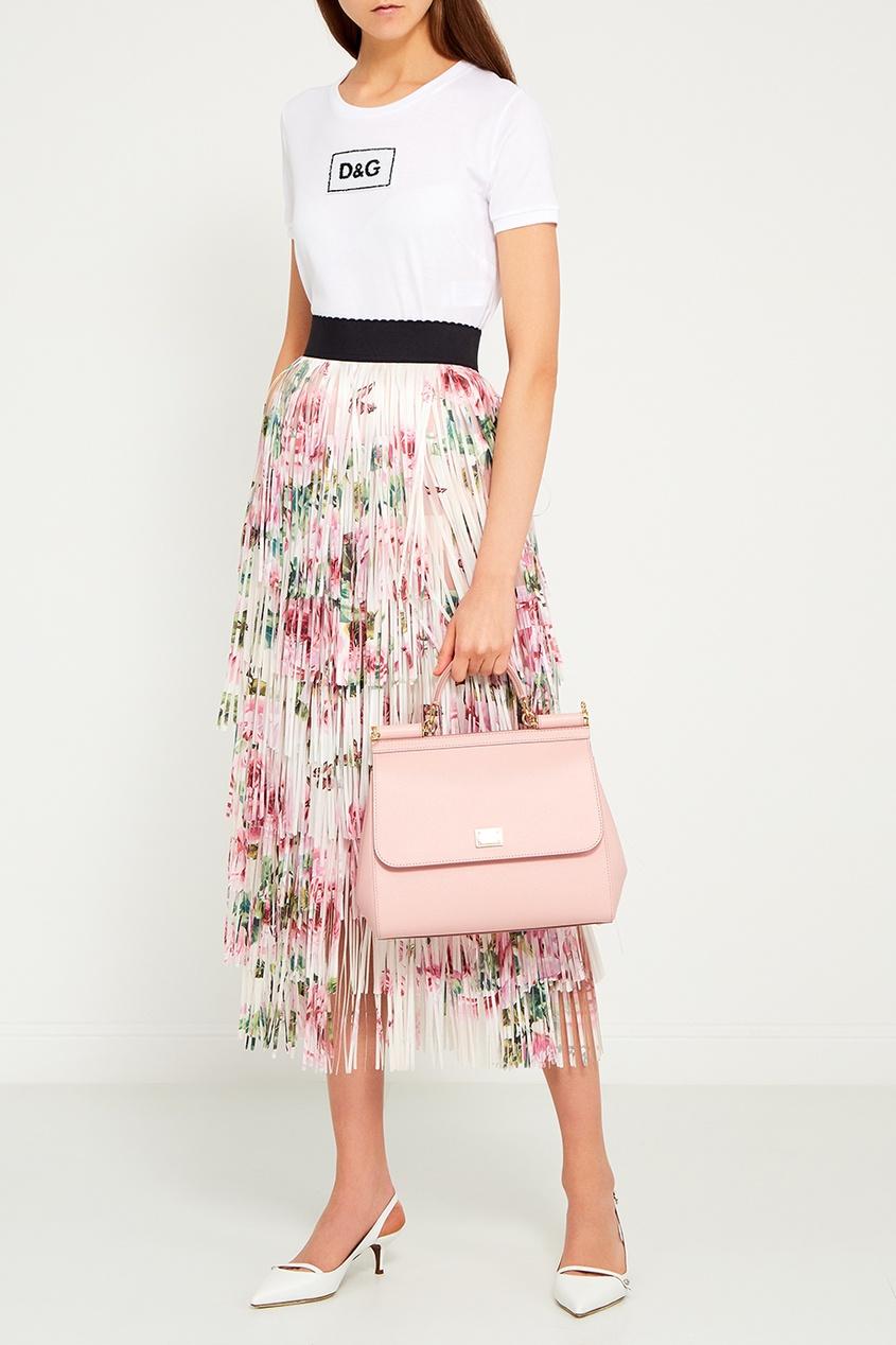 Розовая кожаная сумка Sicily