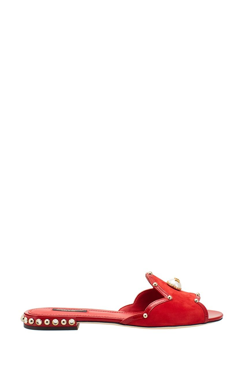 Dolce&Gabbana Красные слиперы из замши