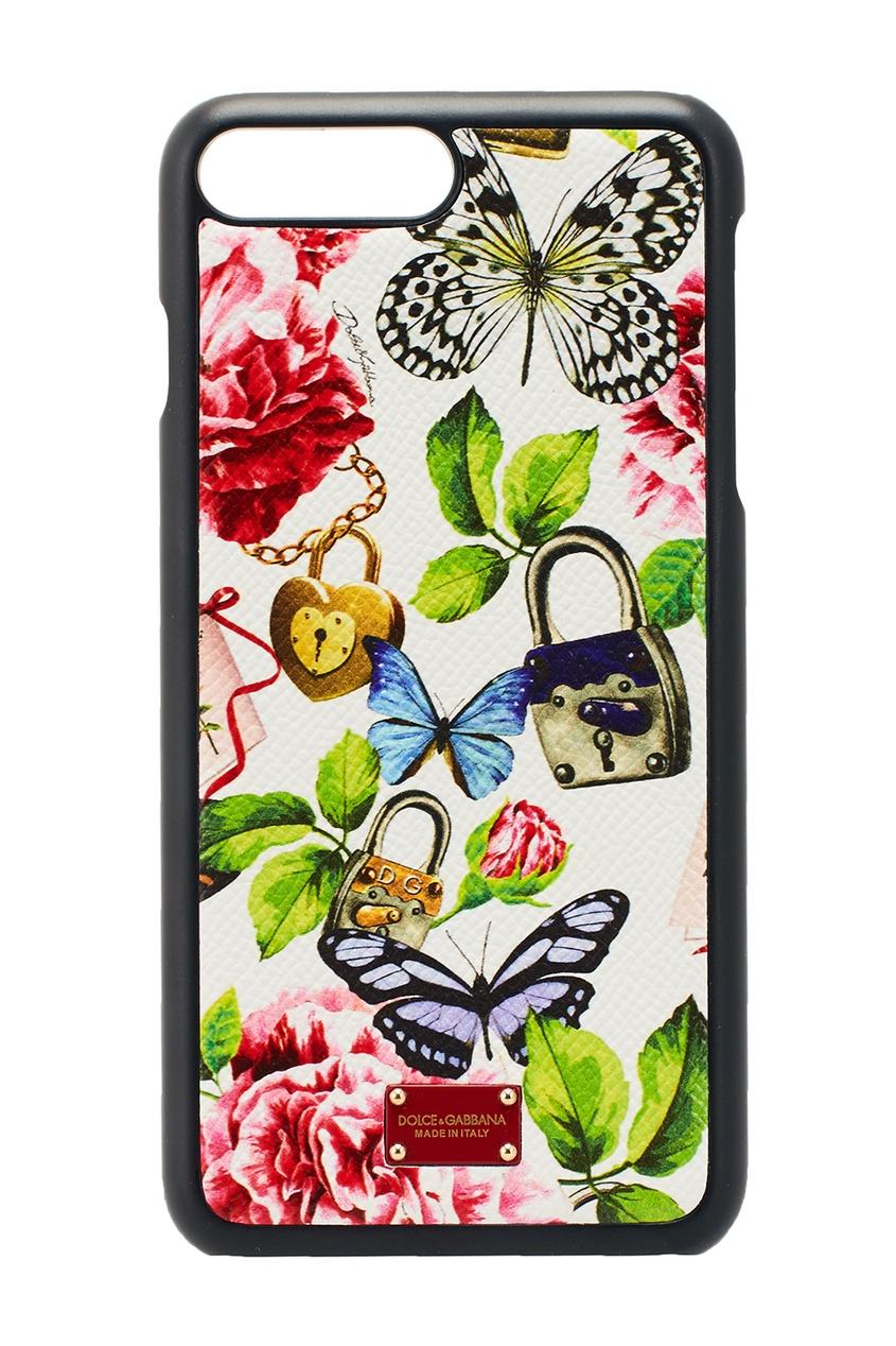 Dolce&Gabbana Белый кожаный чехол для iPhone 7 Plus чехол накладка iphone 5 5s силикон dolce gabbana paris hilton 401351