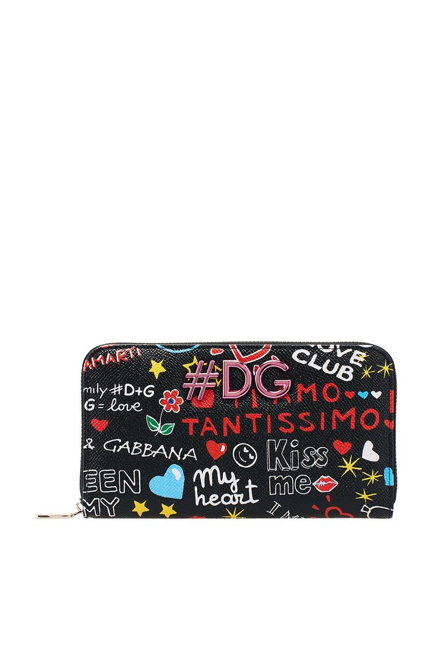 Dolce&Gabbana Черный кожаный кошелек с надписями нейлоновые чулки с надписями