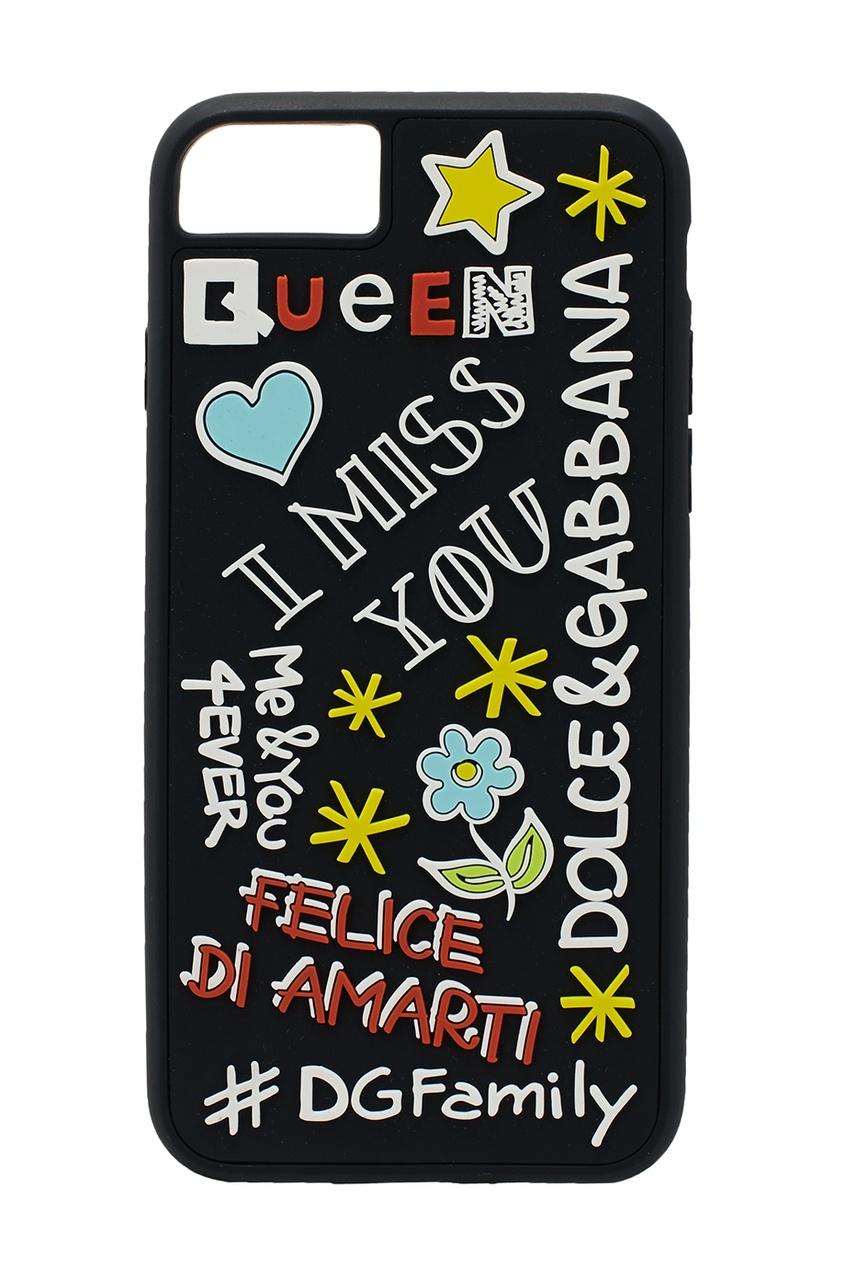 Dolce&Gabbana Черный чехол iPhone 7/8 с надписями чехол накладка iphone 5 5s силикон dolce gabbana paris hilton 401351