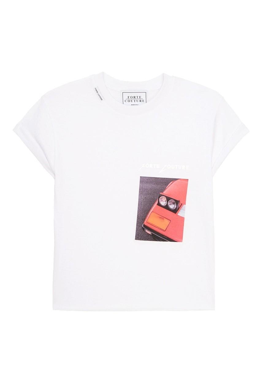 Forte Couture Хлопковая футболка с принтом футболка белая catimini ут 00011611