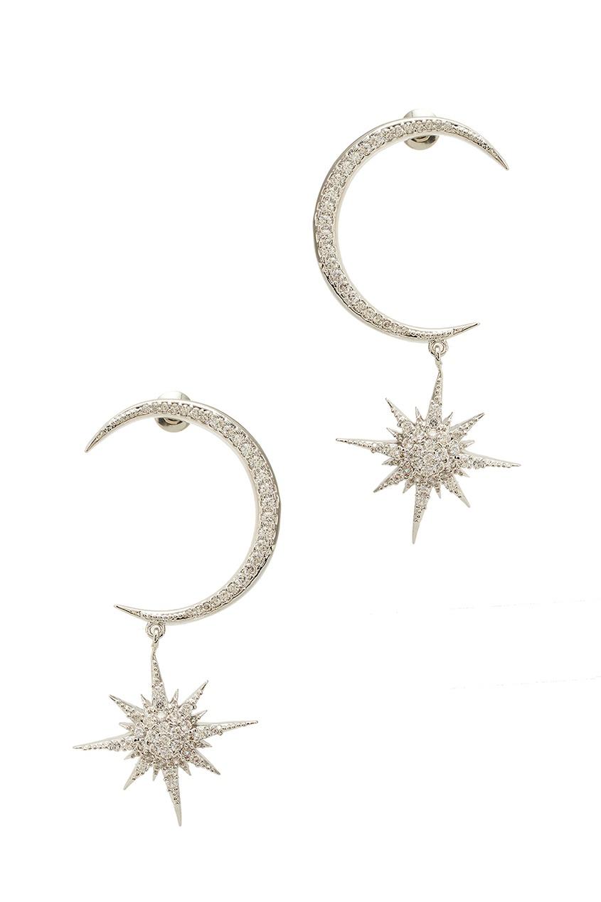 Серебристые серьги со звездами