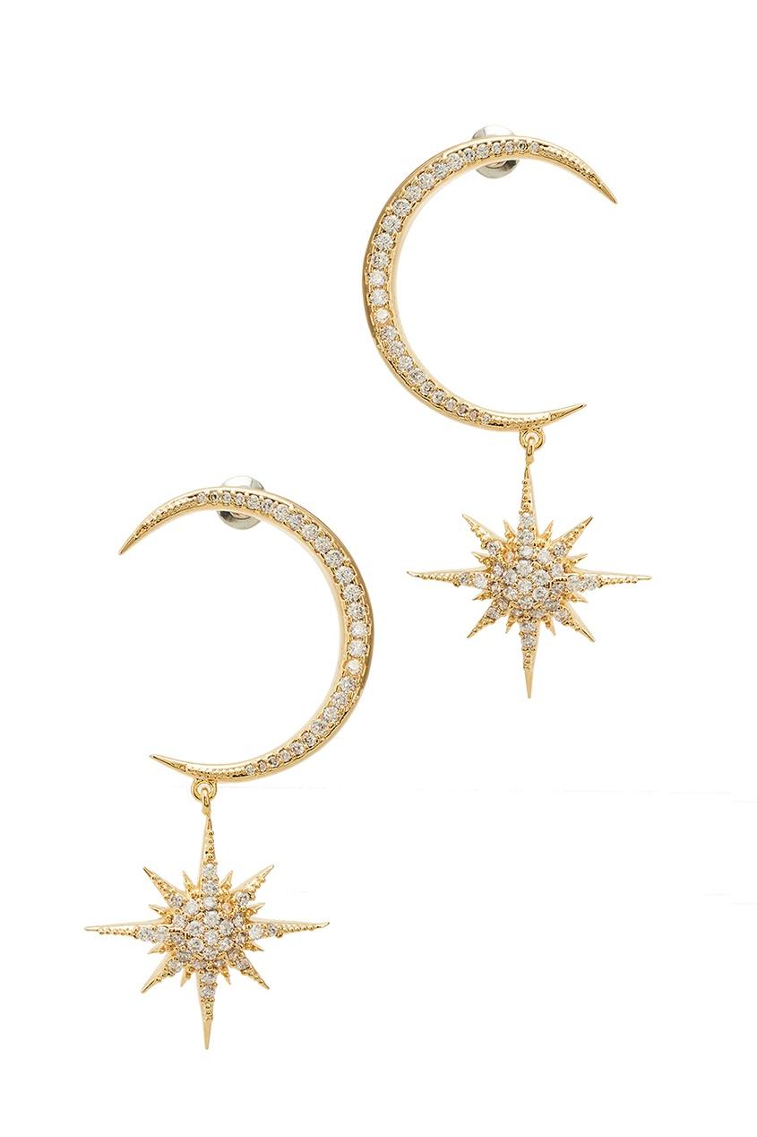 Золотистые серьги со звездами