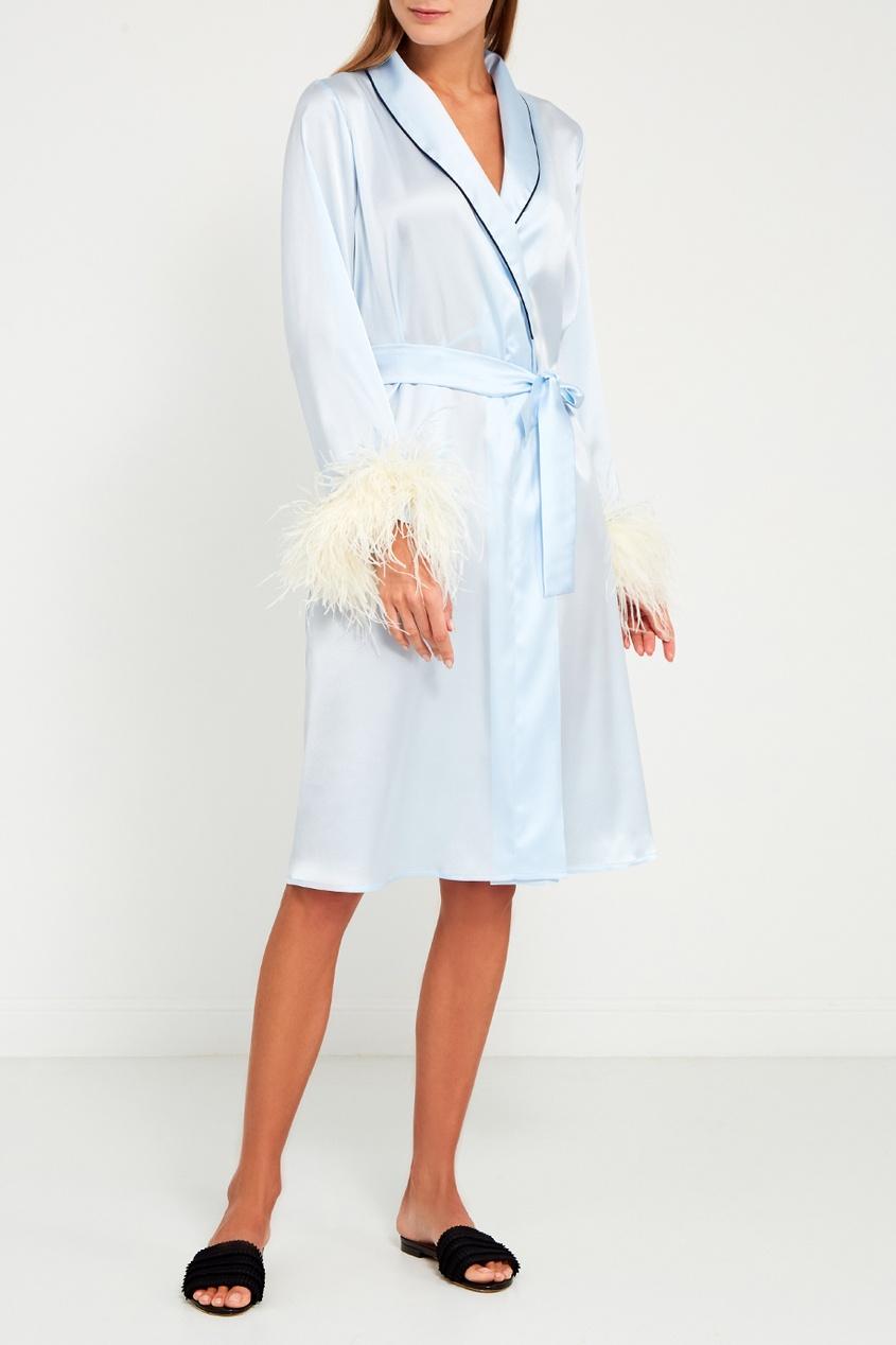Primrose Голубой халат из шелка купить шелковый халат мужской спб
