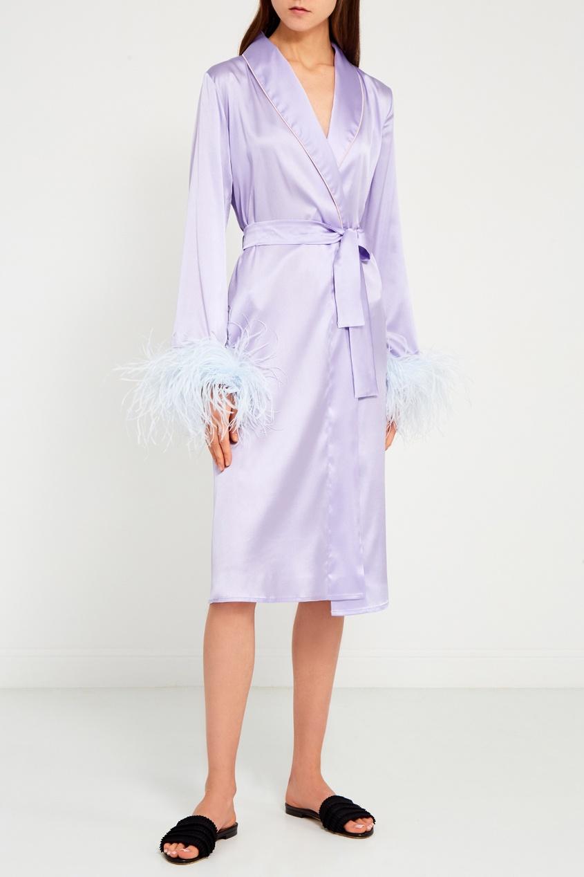 Primrose Фиолетовый шелковый халат купить шелковый халат мужской спб