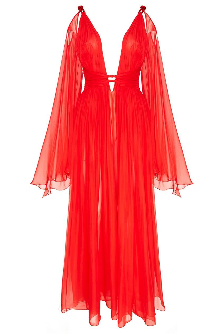 Драпированное платье из шелка